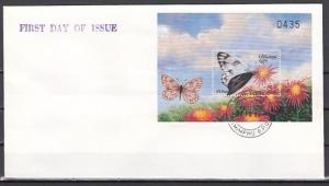Bhutan, Scott cat. 1240. Checkered White Butterfly s/sheet. First day cover. *