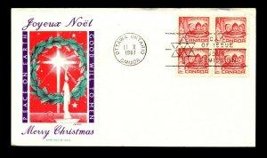 Canada 1967 X-Mas 3 Cent FDC / Jackson Cachet / UA - L12369