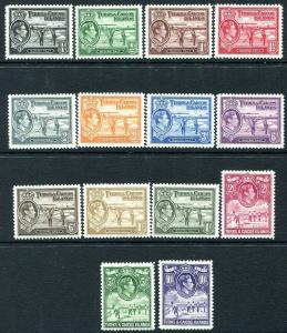 TURKS & CAICOS ISLANDS-1938-45 Set to 10/- Sg 194-205 MOUNTED MINT V31497