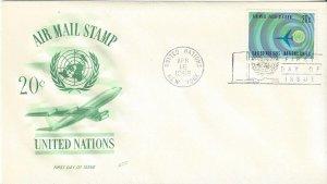 United Nations C13  FDC  Airmail  Fleetwood Cachet