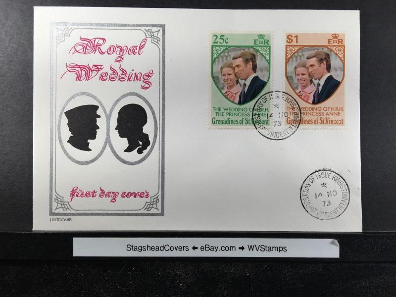 Montserrat FDC 14 Nov 1973 Royal Wedding Anne & Mark Phillips  St.Vincent