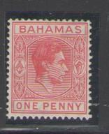 Bahamas Sc101 1938 1d carmine GVI stamp mint