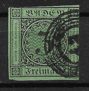 1853 Baden Sc7  3kr used