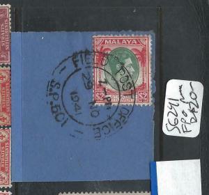 MALAYA  STRAITS SETTLEMENTS (PP0906B)  KGVI $2.00 PIECE FPO S.P.601 CANCEL VFU