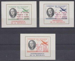 ECUADOR 1949 ROOSEVELT OFFICIAL Bts O.XIII-O.XV MINISHEETS OVPTD MNH F,VF RARE!