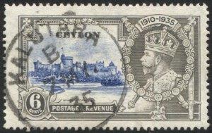 CEYLON 1935 Sc 260, Used VF 6c SJ Castle, KALUTARA / B postmark cancel