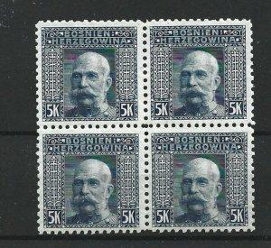 BOSNIA  & HERZEGOVINA 1906  5KR BLUE GREY  P 9 1/2  BLOCK OF 4  MNH  CAT £76 NO2