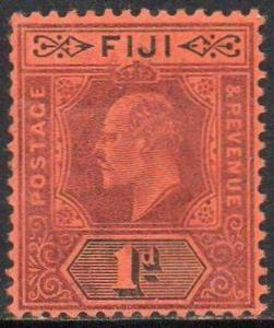 FIJI 1904 1d purple and black/red MH