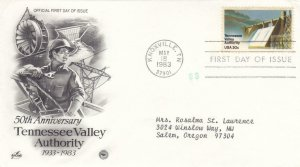 1983, 50th Anniv. Tennessee Valley Authority, Artcraft/PCS, FDC (E8705)