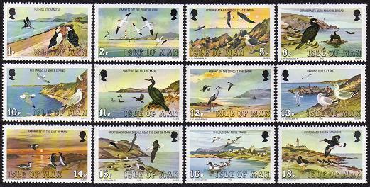 Isle of Man 224-235 short set,MNH.Michel 220-231. Marine Birds,1983.