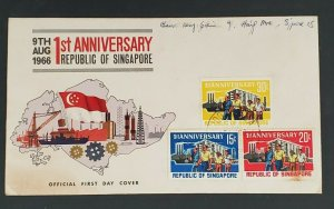 1966 Singapore 1st Anniversary Republic of Singapore Illustrated First Day Cover