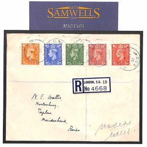 GB KGVI FIRST DAY COVER Relevant *KING ST* London CDS Registered FDC 1951 MS3505
