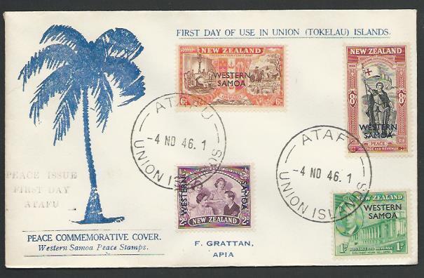 TOKELAU IS 1946 cover ATAFU / UNION ISLANDS cds, FDC of Samoa Peace......11499
