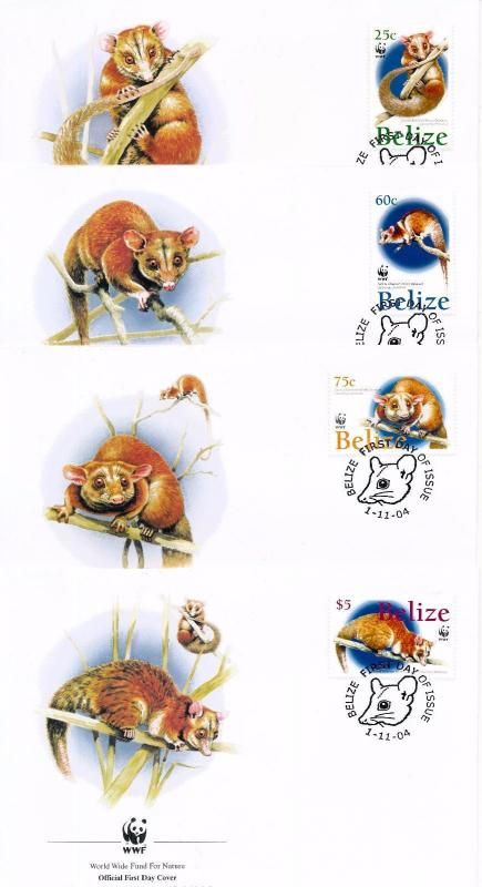 [54190] Belize 2004 Wild animals Mammals WWF Woolly Opossum FDC 4 covers