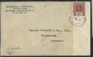 LEEWARD ISLANDS  (P1104B) 1936  KGV 1 1/2D ST JOHN'S TO BARBADOS,  B/S ARRIVAL