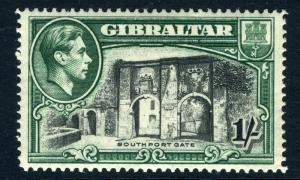 GIBRALTAR-1938 1/- Black & Green Perf 14 Sg 127 MOUNTED MINT V12325