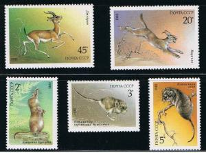 Russia MNH 5388-92 Endangered Wildlife 1985