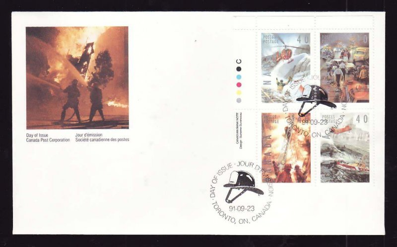 Canada-Sc#1330-3 -stamps on FDC-UL plate block-Firemen-Firefighters-1991-