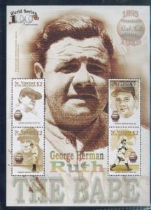 THE BABE - George Herman Ruth Mini Sheet of 4 MNH - St.VIncent+Grenadines E49