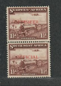 South West Africa Sc#O17 M/H/VF, Vert Pair, Cv. $36.50