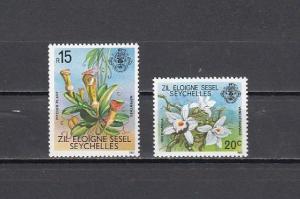 Seychelles-Zil, Scott cat 4 & 15. Orchid & Pitcher Plant values from set. ^