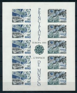MONACO 1991 Sc#1760/1761 EUROPA CEPT SPACE BLOCK OF 5 IMPERFORATED MNH !!!!