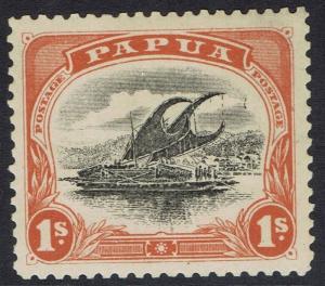 PAPUA 1907 LAKATOI SMALL PAPUA 1/- WMK UPRIGHT PERF 11