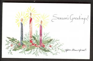 Three Candle on a Sprig of Holly on Handmade Stamp Card