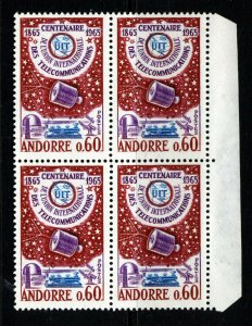 ANDORRA (French) 1965 I.T.U. Centenary Issue BLOCK OF FOUR SG F193 MNH