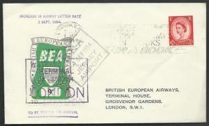 GB 1954 BEA 9d airmail stamp on flown cover Jersey to London...............53373