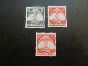 GERMANY 1935 MNH SC# 465-6+ MI.NR. 586XII SWASTICA SET $80 (113)