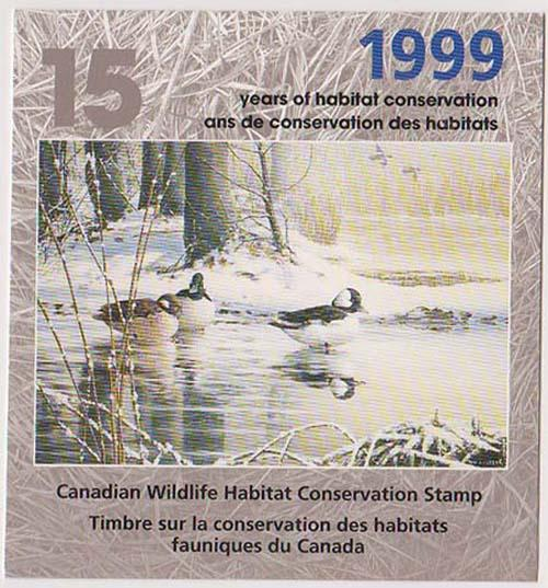 Canada - 1999 Wildlife Habitat Conservation Booklet  USC#FWH15 Cat.$25.