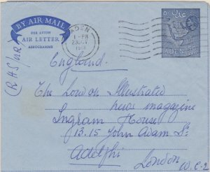 Aden 50c QEII Map Air Letter 1961 Aden Airmail to London, England. Light crea...