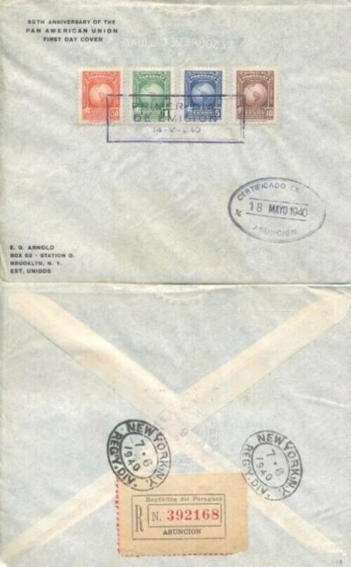 PARAGUAY #374/377 PAN AMERICAN UNION FDC 1940
