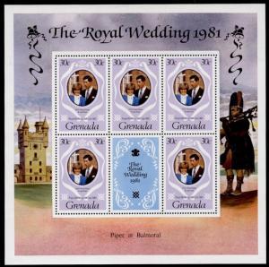 Grenada 1051a-3a Sheets MNH Prince Charles, Princess Diana Wedding, Horse