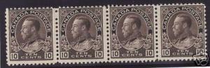 Canada #116 Mint Rare Strip Of Four
