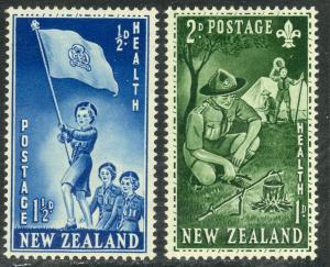 NEW ZEALAND 1953 HEALTH Semi Postals Set of 2 BOY SCOUTS GIRL GUIDES B42-B43 MNH