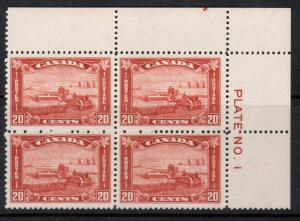Canada #175 Very Fine Never Hinged Plate #1 UR Block