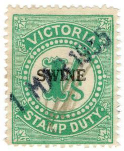(I.B) Australia - Victoria Revenue : Swine Duty 1/- (large format)