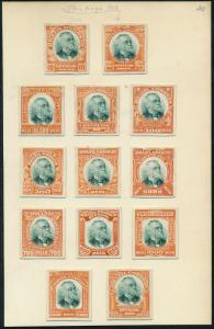 BRAZIL #O1-O13P3 XF-SUPERB ABNCo OFFICIALS PLATE PROOFS ON INDIA EX-GREEN HV5299