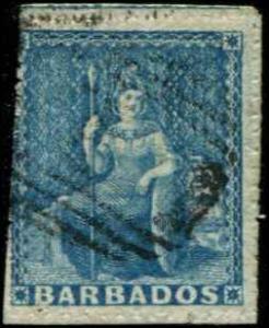 Barbados SC# 11 SG# 14 Britannia (1d) pin perf 14 Used