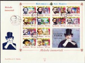 SAN MARINO VERDI COMPOSER MUSIC ITALY ITALIA FDC 2001 R1327