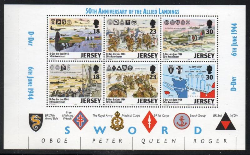 Jersey Sc 675b 1994 D-Day Anniversary stamp booklet pane mint NH