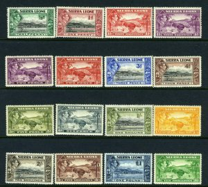 SIERRA LEONE-1938-44  A lightly mounted mint set to £1 Sg 188-200
