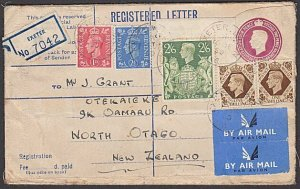 GB 1950 GVI 6½d registered cover uprated used Exeter to New Zealand........29974