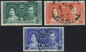 Kenya Uganda - 1937 - Scott #60-62 - used - Coronation