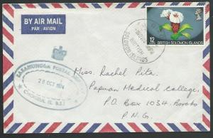 SOLOMON IS 1974 commercial cover to PNG,  SASAMUNNGA POSTAL AGENCY.........12750