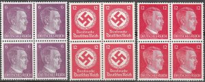 Stamp Selection Germany Block WWII Reich Hitler 12PF Official Cut From Sheet MNH