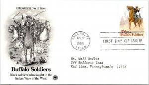 Buffalo Soldiers Indian Wars West First Day Cover 1994 cachet