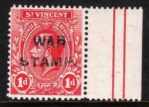 ST. VINCENT — SCOTT MR1a — WAR TAX — TYPE III — DOUBLE OVPT — MNH — SCV $250.00+